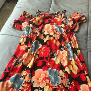 LOft cold shoulder floral swing dress size small